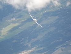 The D-EGLA starts a downwards spiral above the bay of Somme in Picardy.