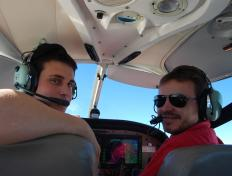 Laurent and Cédric, aboard the OO-JET