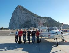 "The ""dream-team"" in Gibraltar, about to take off for the oher continent, Africa"