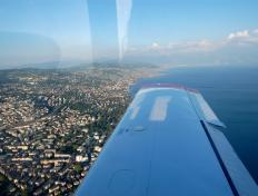 On final, just above the city of Lausanne....