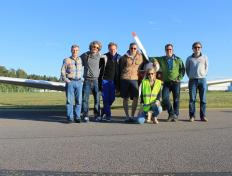 Franck, Olivier, Pierre, Vincent, Cédric, Alexandra and Alexandre in Stockholm Skavsta airport, Tuesday 19 June 2012