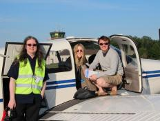 Captain Jeff, his instructor Cedric and Alexandra